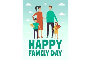 Poster design template with pictures of happy family. Mother, father and little childrens. Stylized vector characters
