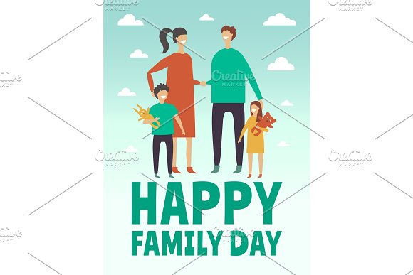 Poster Design Template With Pictures Of Happy Family Mother Father And Little Childrens Stylized Vector Characters