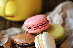 French macarons with cappuccino