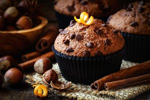 Fresh chocolate chip muffins