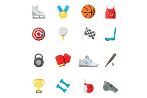 Flat sport symbols in vector style