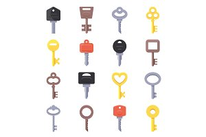 Vector pictures of keys for doors