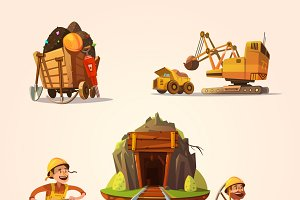 Mining retro cartoon style set