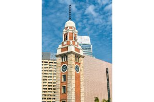 Historic Clock Tower in Hong Kong, China