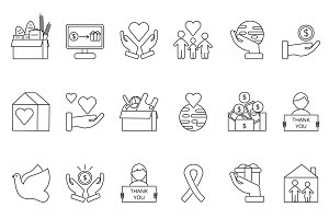 Symbols of volunteers and charities organisations. Monolines icons set