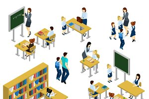 School isometric set