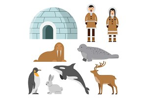 Polar, arctic animals and residents of the north near eskimo ice house
