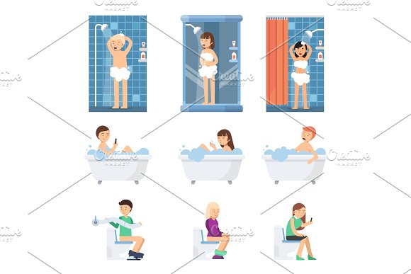 Male And Women Take A Shower In Bathroom Flat Illustrations Of Flat Peoples