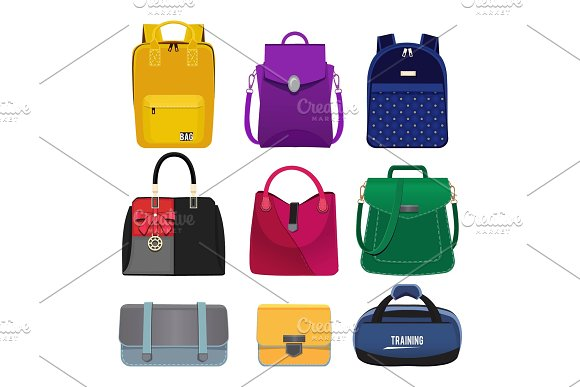 Cartoon Illustrations Of Women Handbags Fashion Pictures Set Isolate