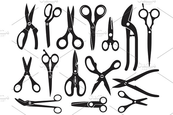 Monochrome Pictures With Different Type Of Scissors