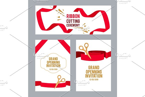 Banners Set With Pictures With Red Ribbons For Ceremony