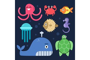 Sea life. Fishes and others underwater mammals