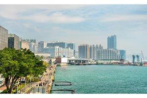 View along the Tsim Sha Tsui Promenade in Hong Kong