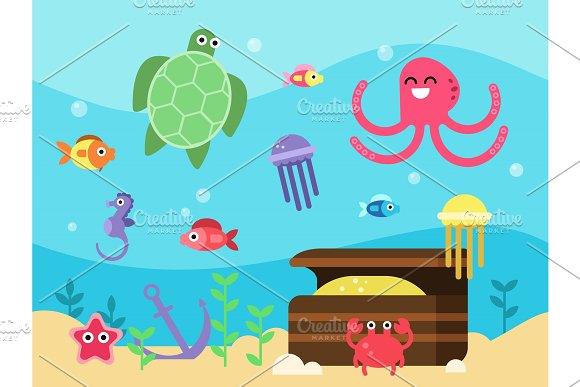 Vector Illustrations Set Of Underwater Landscape With Sea Animals And Fishes