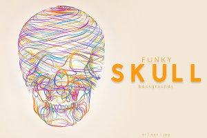 Vector Funky Skulls