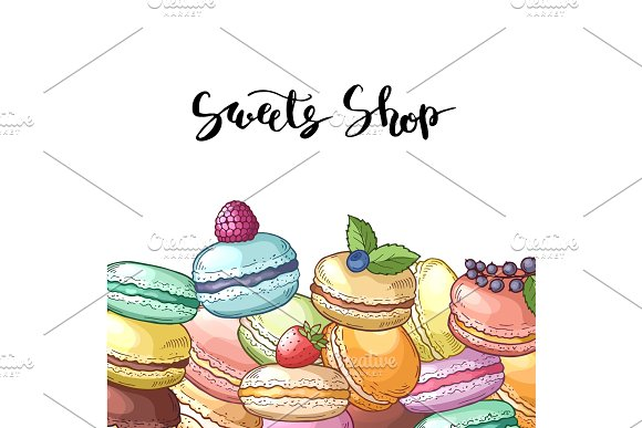 Vector Background With Colored Hand Drawn Macaroons Andlettering
