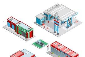 Modern auto service isometric set