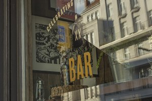 Old bar glass sign street view