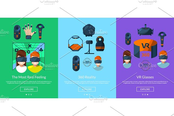 Vector Horizontal Slideshow Template For Tablet Or Website With Flat Style Virtual Reality Elements