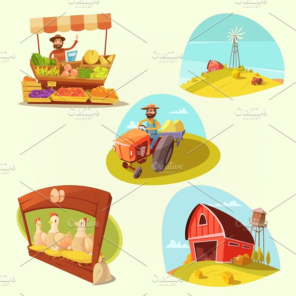 Farm Cartoon Set