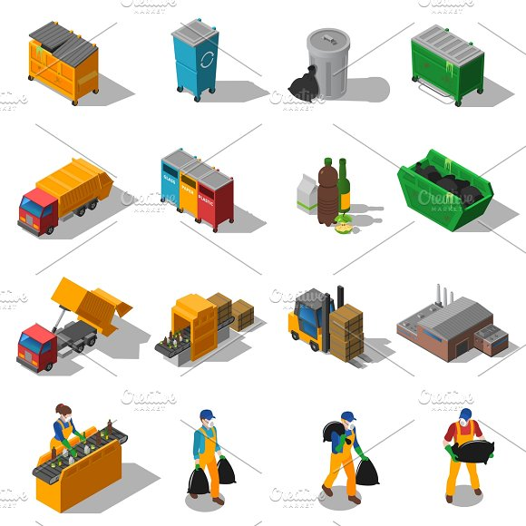 Garbage Recycling Isometric Icons