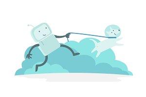 Robot character astronaut man walk runs with dog on a leash. Dog runs ahead. Flat color vector illustration
