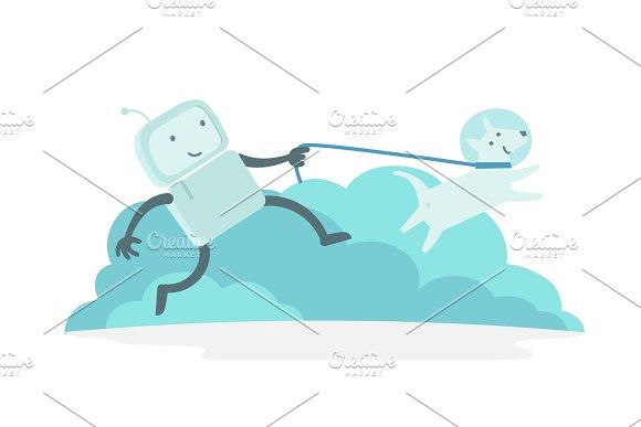 Robot Character Astronaut Man Walk Runs With Dog On A Leash Dog Runs Ahead Flat Color Vector Illustration