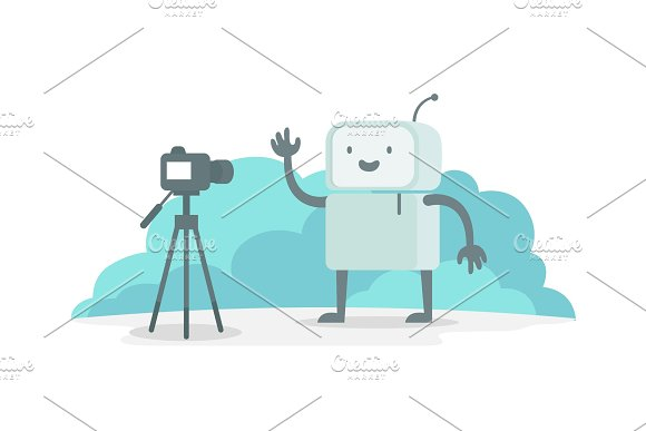 Videoobloger Robot Character In Front Of The Camera Stream Shows On Video Selfie Recording For You Tube The Reporter News Reportage Flat Color Vector Illustration