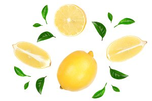 lemon and slices decorated with green leaves isolated on white background. Flat lay, top view