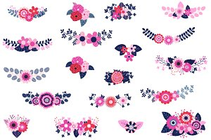 Rustic Flower Bouquets Clip Art