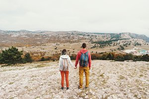Traveler young couple walking