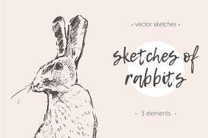Set of hand drawn rabbits