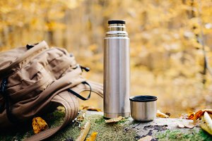 Backpack and thermos bottle