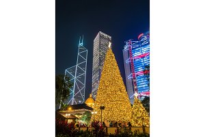 Christmas tree in the Central district of Hong Kong