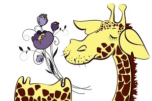 Cute giraffe with bunch of flowers