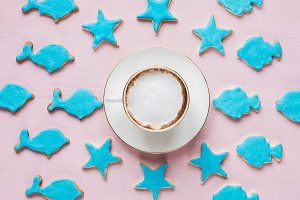 Coffee and a festive cookies