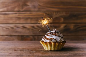 Holiday cupcake with sparkler.