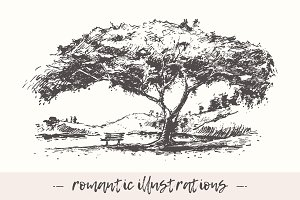 Set of romantic illustrations