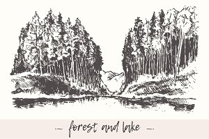 Landscape with forest and lake