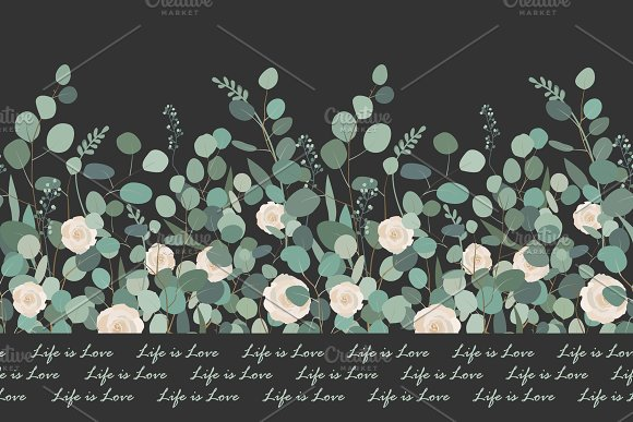 Elegant Seamless Pattern With Silver Dollar Eucalyptus Branches And Roses On Black Background Vector