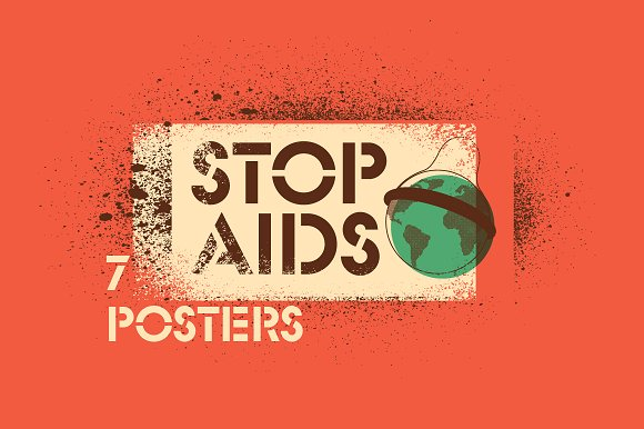 Stop Aids Typographic Stencil Poster