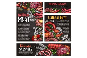 Meat, sausage and spice herb blackboard banner