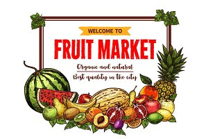 Fruit market banner with frame of farm product