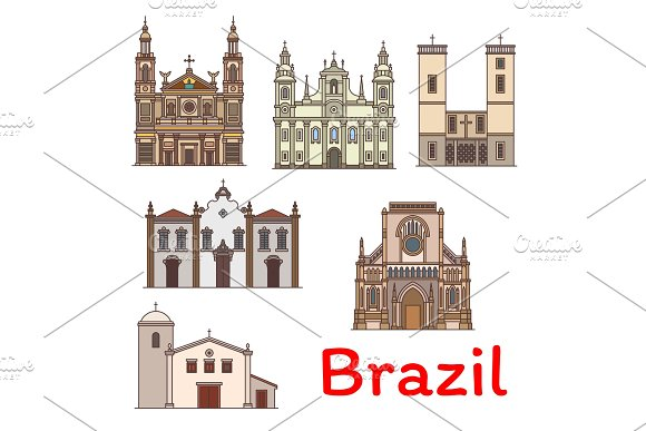 Famous Travel Landmark Of Brazil Thin Line Icon