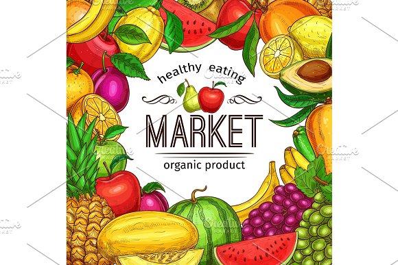 Fresh Fruit And Berry Sketch Frame For Food Design
