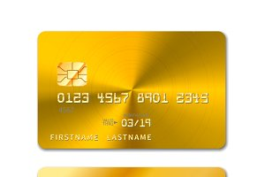 Golden realistic credit card