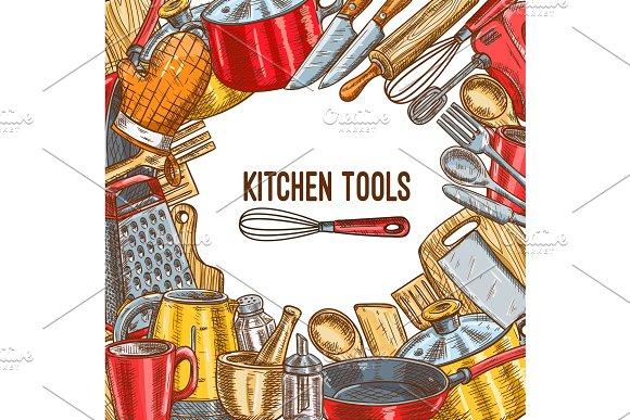 Kitchen Tool Utensil Or Kitchenware Sketch Poster