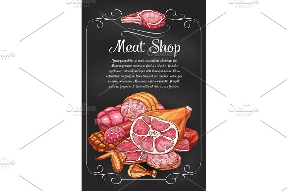 Meat And Sausage Chalkboard Banner Of Label Design