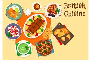 British cuisine traditional meat dishes icon
