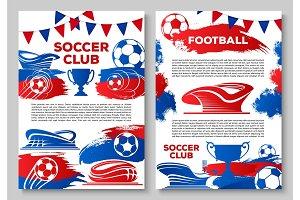 Soccer sport club banner with football stadium